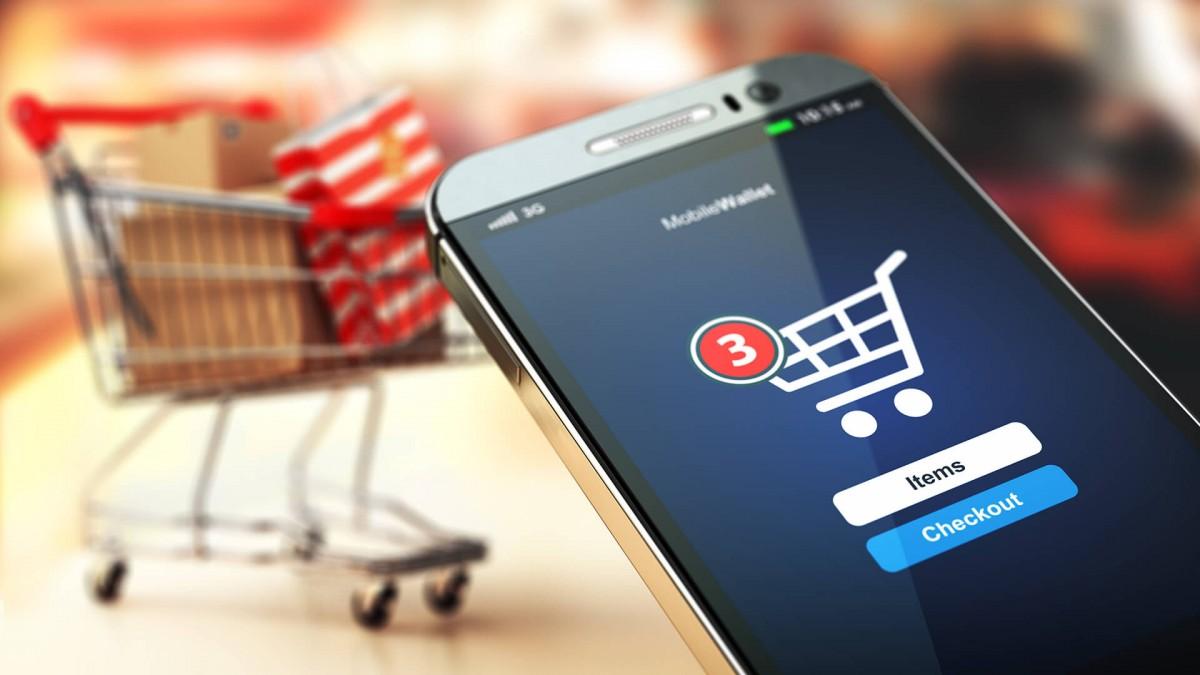 Celular con app para comprar en línea