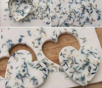 Jabones artesanales en forma de corazón