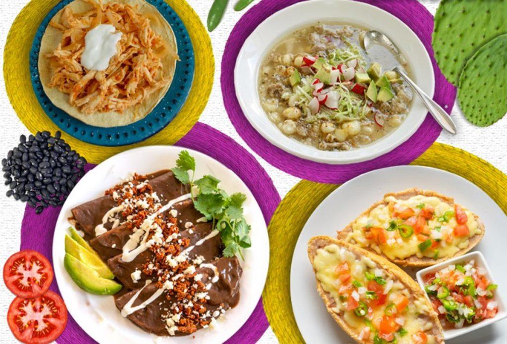 enfrijoladas molletes pozole y tostada de pollo 1024x695 - ¿Por qué la comida mexicana es tan popular en el mundo?